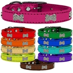 Crystal Bone Croc Metallic Dog Collars, leather dog collars