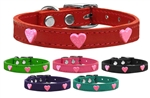 Pink Glitter Heart Widget Leather Dog Collars, leather dog collars