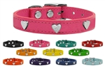 Silver Heart Widget Leather Dog Collarss, leather dog collars
