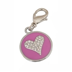 Heart Round Dog Collar Charm, Dog Collar Pendants