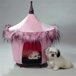 This tent bed is made of pink micro suede and features a sassy pink and brown feather boa as its trim