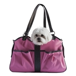This fashion pet carrier is made with designer fabrics and trimmed with designer Italian leather. Large enough for two Pets!