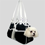 Metro Couture Dog Carrier Purse. Black & White