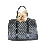 Metro Couture Dog Carrier Purse. Quilted Luxe JL Duffle