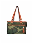 Camouflage Pet Tote with Orange Leather Trim, pet carriers