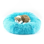 Aqua Shag Dog Bed, snuggle beds for dogs, donut beds for dogs, BowWowsbest.com, pet beds, cat beds, Susan Lanci Designs