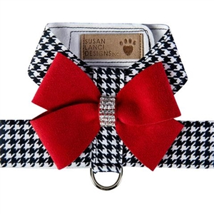 Black and White Houndstooth Red Nouveau Bow Tinkie  Dog Harness, BowWowsBest.com, Susan Lanci Designs