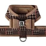 Chocolate Glen Houndstooth Tinkie Harness with Trim and Big Bow, BowWowsBest.com, Susan Lanci Designs