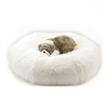 Cream Shag Dog Bed, snuggle beds for dogs, donut beds for dogs, BowWowsbest.com, pet beds, cat beds, Susan Lanci Designs
