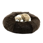 Chocolate Shag Dog Bed, snuggle beds for dogs, donut beds for dogs, BowWowsbest.com, pet beds, cat beds, Susan Lanci Designs