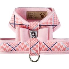 Peaches N' Cream Glen Houndstooth Tinkie Harness with Big Bow and Pink Trim, BowWowsBest.com, Susan Lanci Designs