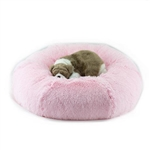 Puppy Pink Shag Dog Bed, snuggle beds for dogs, donut beds for dogs, BowWowsbest.com, pet beds, cat beds, Susan Lanci Designs