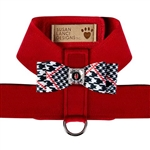 Red Classic Glen Houndstooth Big Bow Tinkie Dog Harness, BowWowsBest.com, Susan Lanci Designs