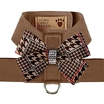 Solid Chocolate Glen Houndstooth Nouveau Bow Tinkie Harness, BowWowsBest.com, Susan Lanci Designs
