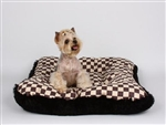 Windsor Check Square Dog Bed, snuggle beds for dogs, pillow beds for dogs, BowWowsbest.com, pet beds, cat beds, Susan Lanci Designs