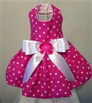 Hot Pink with White Polka Dot Dog Dress, dog dresses, formal dog dresses, dog wedding attire