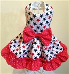 Stars and Ruffle Patriotic Dog Dress, dog dresses, patriotic dog dresses, red white and blue dog dresses, dog costumes, big dog dresses
