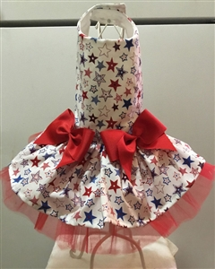 Patriotic Dog Dress with Multi Stars, Red, White and Blue dog clothes. large dog costumes