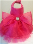 Hot Pink Satin Glitter Formal Dog Dress, dog clothes, dog dresses, dresses for dogs, fancy dog dresses, dog wedding attire