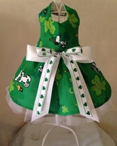 St Patrick's Day Snoopy and Shamrocks Dog Dress, St. Patrick's Day Dog Attire, large dog clothes
